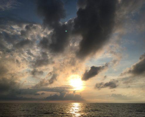 tramonto alla partenza