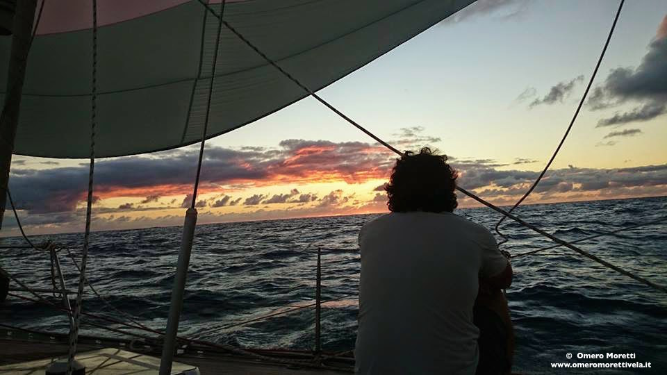 traversata atlantica tramonto e gennaker