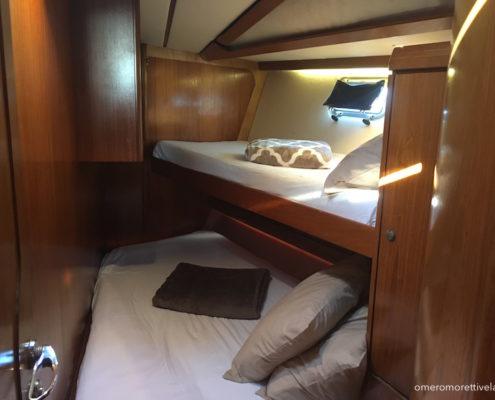 Freya barca a vela interni - Cabina di prua matrimoniale