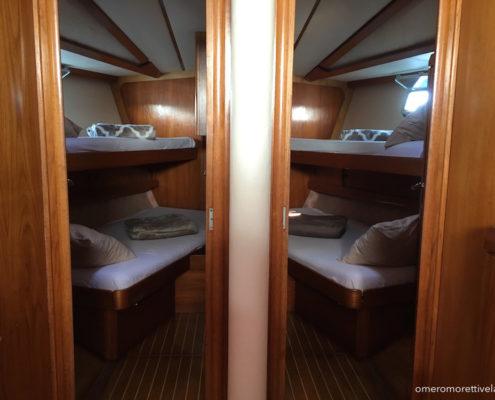 Freya barca a vela interni - Cabine di prua