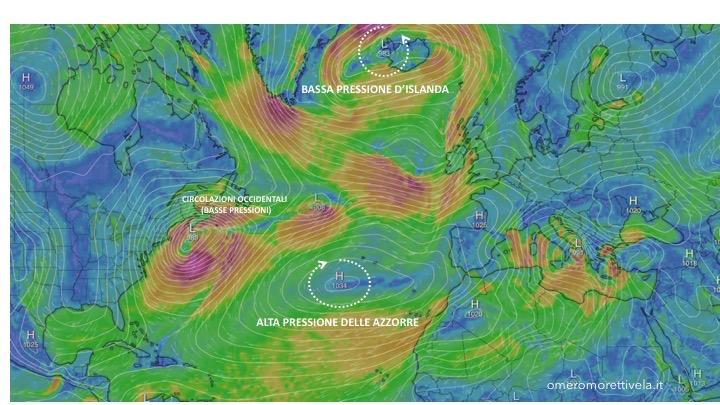alta pressione delle azzorre posizione invernale con spiegazioni