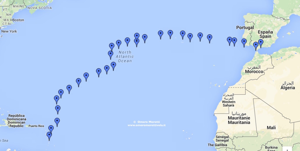 Rotta traversata atlantica di ritorno 2011