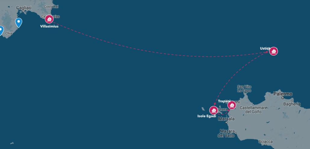 sardegna del sud in barca a vela verso la sicilia
